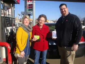 (Pictured left to right, Tanya Carlson, Carlson's Northside Service, DiAnna Decker, free fuel for a year winner, and Shawn Groen, CHS. )